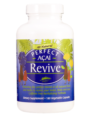 PERFECT ACAI REVIVE - ORGANIC ACAI, ORGANIC CORDYCEPS, & WILD-CRAFTED RHODIOLA ROSEA - 180 VEGETABLE CAPSULES
