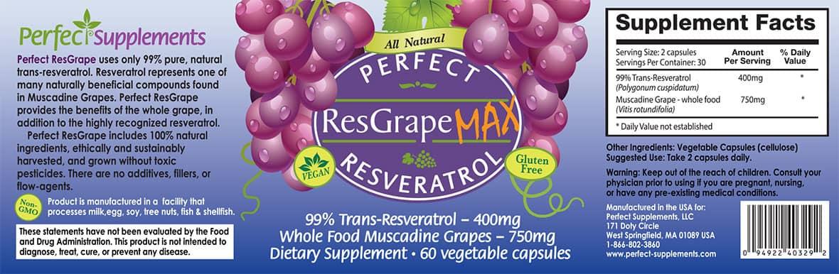 Perfect Resgrape Resveratrol Max 99 Trans Resveratrol Whole