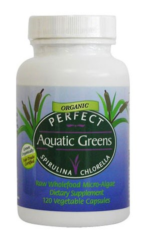 Perfect Aquatic Greens - Organic & Fairly-traded Spirulina And Chlorella - 120 Vegetable Capsules